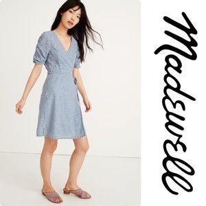Madewell Gingham Shirred-Sleeve Wrap Dress